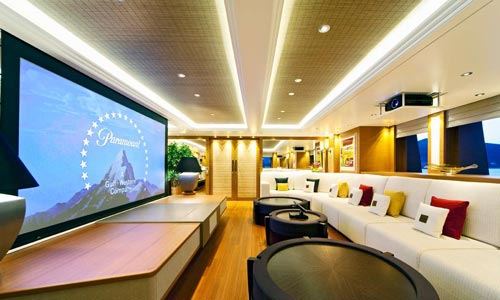 Home cinema system on luxury yacht